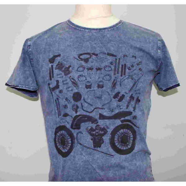 t shirt homme custom puzzle bleu moto guzzi 606035m0 b en vente c. Black Bedroom Furniture Sets. Home Design Ideas