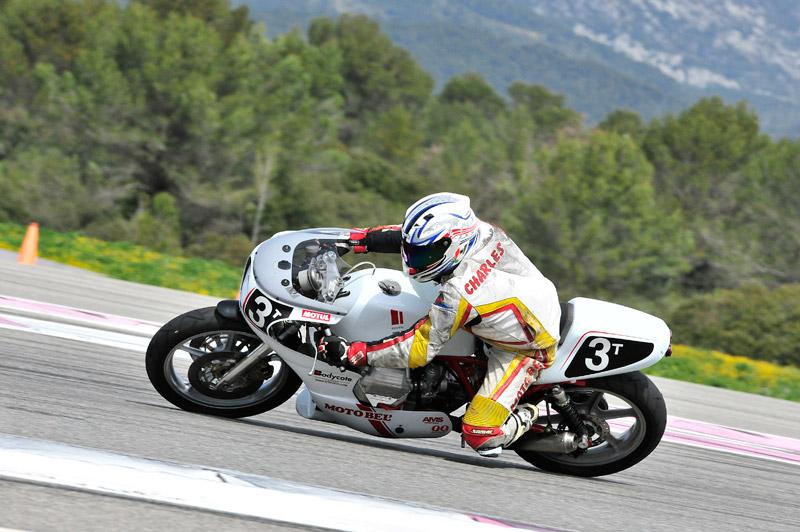 Christophe sur la Moto Bel' au castellet 2015